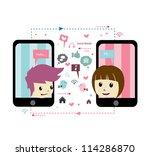 love in social network | Shutterstock .eps vector #114286870