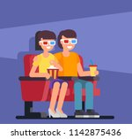 couple seating in cinema. flat... | Shutterstock .eps vector #1142875436