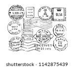 vintage postage stamps... | Shutterstock .eps vector #1142875439