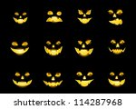 Stock vector jack o lantern pumpkin faces glowing on black 114287968