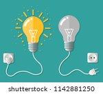 light bulb with dark bulb. cord ... | Shutterstock .eps vector #1142881250