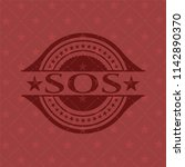sos badge with red background | Shutterstock .eps vector #1142890370