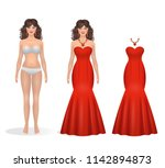 beautiful girl paper doll in a... | Shutterstock .eps vector #1142894873