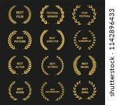 golden vector laurel wreaths on ... | Shutterstock .eps vector #1142896433
