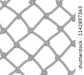 silver rope woven in frame.... | Shutterstock .eps vector #1142897363