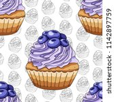 seamless pattern cupcake with... | Shutterstock .eps vector #1142897759