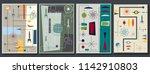 vector set of mid century space ... | Shutterstock .eps vector #1142910803