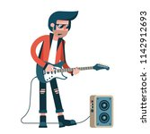 rock guitarist plays solo on an ... | Shutterstock .eps vector #1142912693