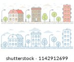 colored seamless cityscape with ... | Shutterstock .eps vector #1142912699