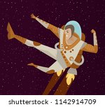 spacesuit kicking hero | Shutterstock .eps vector #1142914709