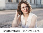 portrait of beautiful young... | Shutterstock . vector #1142918576