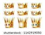 set of golden crowns for king... | Shutterstock .eps vector #1142919050