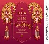 wedding invitation card... | Shutterstock .eps vector #1142931293