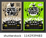grill party time bbq food... | Shutterstock .eps vector #1142939483
