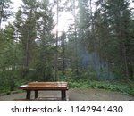 picnic table in a campground in ... | Shutterstock . vector #1142941430