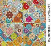 vector patchwork quilt pattern. ... | Shutterstock .eps vector #1142951069