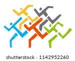 sport runners logo. abstract... | Shutterstock .eps vector #1142952260