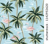 tropical vintage pink flamingo... | Shutterstock .eps vector #1142952620