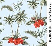 tropical hawaiian vintage palm... | Shutterstock .eps vector #1142952626