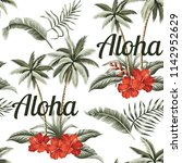 tropical hawaiian vintage palm... | Shutterstock .eps vector #1142952629