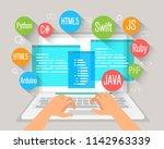 programming banner  coding ... | Shutterstock .eps vector #1142963339