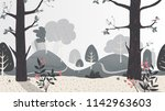 day in the forest illustration... | Shutterstock .eps vector #1142963603