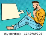 hipster man sitting on the... | Shutterstock .eps vector #1142969303