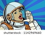 woman astronaut calling for... | Shutterstock .eps vector #1142969660