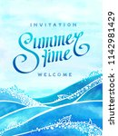 summer time and sea wave... | Shutterstock .eps vector #1142981429