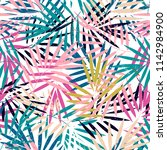 seamless pattern with palm... | Shutterstock .eps vector #1142984900