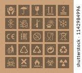 vector packaging symbols set on ... | Shutterstock .eps vector #1142984996