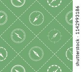 seamless pattern with compass... | Shutterstock .eps vector #1142993186