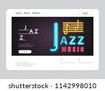 jazz music landing page neon...