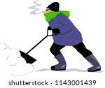 man shoveling snow  isolated on ... | Shutterstock .eps vector #1143001439