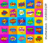 comic colored sound icons set.... | Shutterstock . vector #1143010139