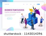 isometric winner business and... | Shutterstock .eps vector #1143014396