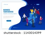 isometric winner business and... | Shutterstock .eps vector #1143014399