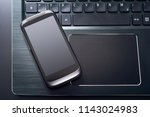 black mobile phone with... | Shutterstock . vector #1143024983