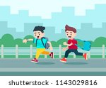 two boys with backpacks are... | Shutterstock .eps vector #1143029816