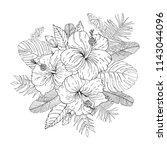 tropical flowers bouquet.... | Shutterstock .eps vector #1143044096