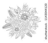 tropical flowers bouquet.... | Shutterstock .eps vector #1143044120