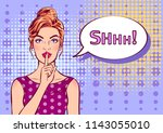 woman with a finger on her lips ... | Shutterstock .eps vector #1143055010