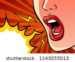 angry shouting female mouth and ... | Shutterstock .eps vector #1143055013