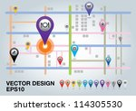 city map with  pointers. vector ... | Shutterstock .eps vector #114305530