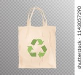 reusable cloth bag with recycle ... | Shutterstock .eps vector #1143057290