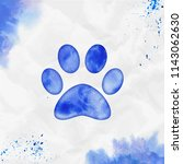 paw watercolor icon. authentic... | Shutterstock .eps vector #1143062630