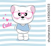 cute cartoon kitty in pink... | Shutterstock .eps vector #1143063353