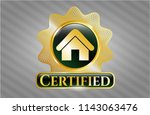 gold shiny emblem with home... | Shutterstock .eps vector #1143063476