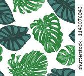seamless hand drawn botanical... | Shutterstock .eps vector #1143076043