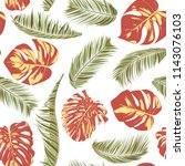 summer exotic floral tropical... | Shutterstock .eps vector #1143076103